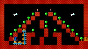 Train puzzle, retro style low resolution pixelated game graphics. Animation stock footage