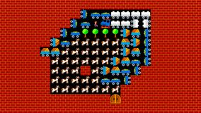 Train puzzle, retro style low resolution pixelated game graphics animation. Level 40 stock footage