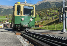 Train and Rack-Railway in Grindelwald Stock Photo