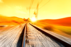 Train rail. Background at sunrise Royalty Free Stock Image