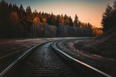 Train Rail during Golden Hour Stock Image