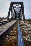 Train Rail leading to a bridge Stock Image