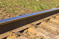 Free Train Rail On Crossties Showing Pandrols Stock Images - 66594404
