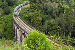 Train in Rail road tunnel Demodara Nine Arch Bridge Stock Photo