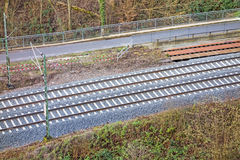 Train rail track. Top view Royalty Free Stock Images