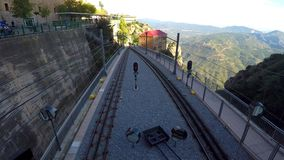 The Train Rail Up In The Mountain. This is footage of traintracks very high up in the mountain. Very nice scenic view of the top stock footage
