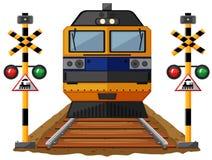 Train on the railroad. Illustration Royalty Free Stock Photo