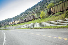Train, railroad and road Royalty Free Stock Image