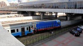 Train. Railroad station in Kiev, Ukraine stock video