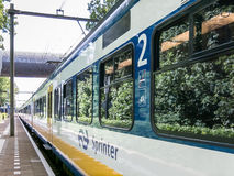Train on railroad station, Netherlands Royalty Free Stock Photography