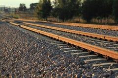 Train railroad at the sunset Stock Photo