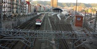Train. Railroad tracks and catenary Royalty Free Stock Photos