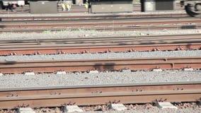 Train on the rails. Train on european railway station captured in Prague, capital city of Czech Republic stock video