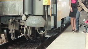 Train on the rails. Train on european railway station captured in Prague, capital city of Czech Republic stock footage