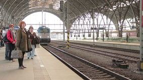 Train on the rails stock video footage