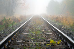 Train rails in foggy weather. In Poland Stock Photos