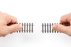 Train Rails in Hands Stock Photo
