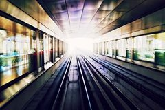 Train rails. Metro at Dubai Royalty Free Stock Images