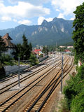 Train rails at mountain Royalty Free Stock Images