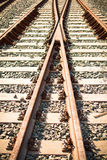 Train rails. Perspective view of train rails Royalty Free Stock Photo