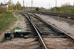 Train rails, railway switch. Road Royalty Free Stock Image