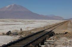 A train rails on the salt flats. A train rails disappears into the distant landscape of the salt flats of Salar de Uyuni in Bolivia stock image