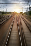 Train Rails Sunset Blurred Motion. View stock photos