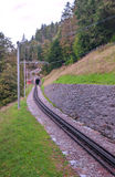 Train rails Swiss alpine. Mountains on a cloudy day, it is a vertical image Royalty Free Stock Photos
