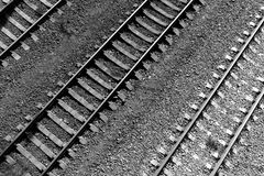 Train rails from the top in black and white. Transportation and Travel Stock Image