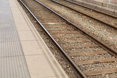 Train rails. Two different ways Royalty Free Stock Photo