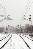 Train rails under snow Royalty Free Stock Photo