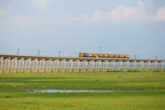 Train on the railway bridge Royalty Free Stock Photo