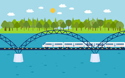 Train on railway bridge. Forest and lake on Royalty Free Stock Photography