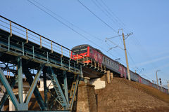 Train on railway bridge Royalty Free Stock Photo