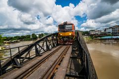 The train on Railway Bridge over the River Kwai ,Kanchanaburi ,T. KANCHANABURI THAILAND OCTOBER 19 :Unidentified The train on Railway Bridge over the River Kwai Royalty Free Stock Photography