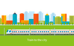 Train on railway with city background Stock Photography