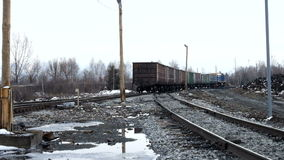 Train railway company. Railroad, train with coal at a coal plant in Siberia stock video