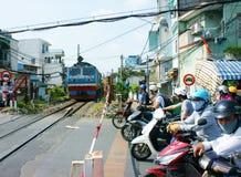 Train, railway cross Ho Chi minh residence area Royalty Free Stock Photos