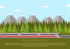 Train on railway with forest of conifers and mountains. Flat style vector illustration Royalty Free Stock Photos
