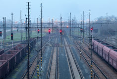 Train railway with freight station, Transportation Stock Image