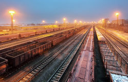 Train railway with freight station, Transportation royalty free stock photo
