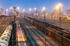 Train railway with freight station, Transportation Royalty Free Stock Photography