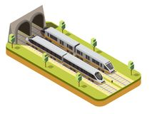 Train Railway Isometric Composition. Rail bus and high speed passenger train entering railway tunnel under viaduct bridge isometric composition vector royalty free illustration