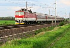 Train on railway in nature Stock Photo