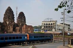 Train on railway near Phra Prang Samyod go to bangkok Stock Images