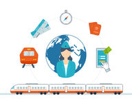 Train on railway. Online ticket reservation.  Hotel booking. Royalty Free Stock Photo