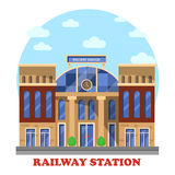 Train and railway, railroad station or depot. Train or railway, railroad station or depot with clocks. Intercity and city or town transit for freight or Royalty Free Stock Photo