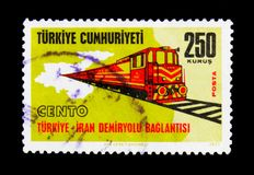 Train on railway, Railway connections, serie, circa 1971. MOSCOW, RUSSIA - NOVEMBER 23, 2017: A stamp printed in Turkey shows Train on railway, Railway Stock Images