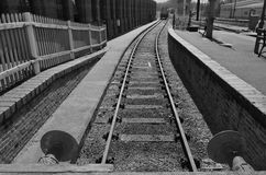 Train railway siding in monochrome Royalty Free Stock Images