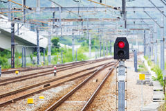 Train Railway signal light Stock Photo